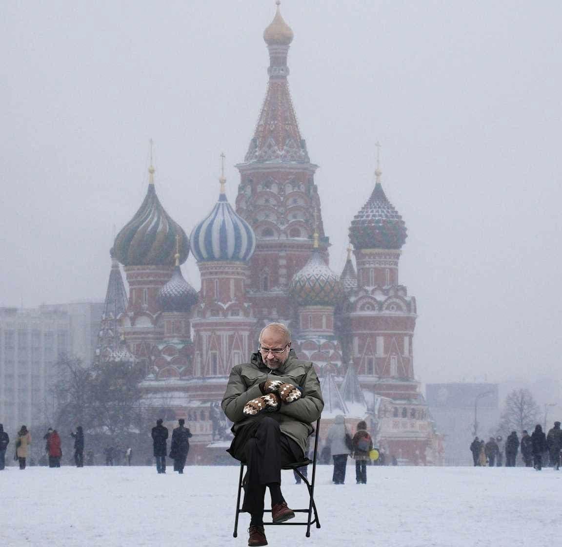شوخی برنی سندرزی با حاشیههای سفر قالیباف به مسکو/ عکس